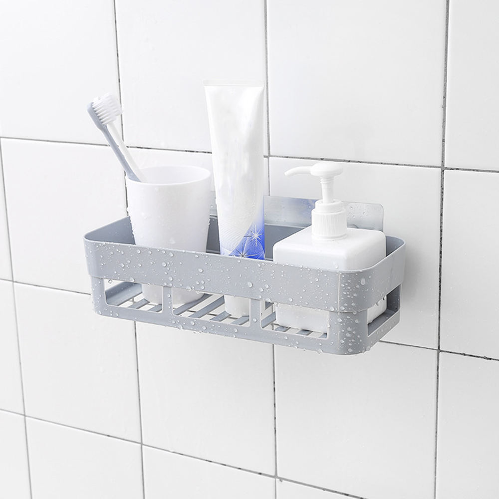 Self-Adhesive Wall-Mounted Bathroom Rack Toilet Storage Shelf Shampoo Holder Kitchen Organizer Bathroom Accessories
