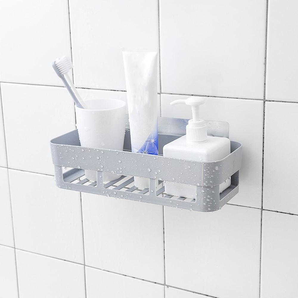Practical Adhesive Bathroom Shelf Shampoo Corner Storage Rack Wall MountedBasket