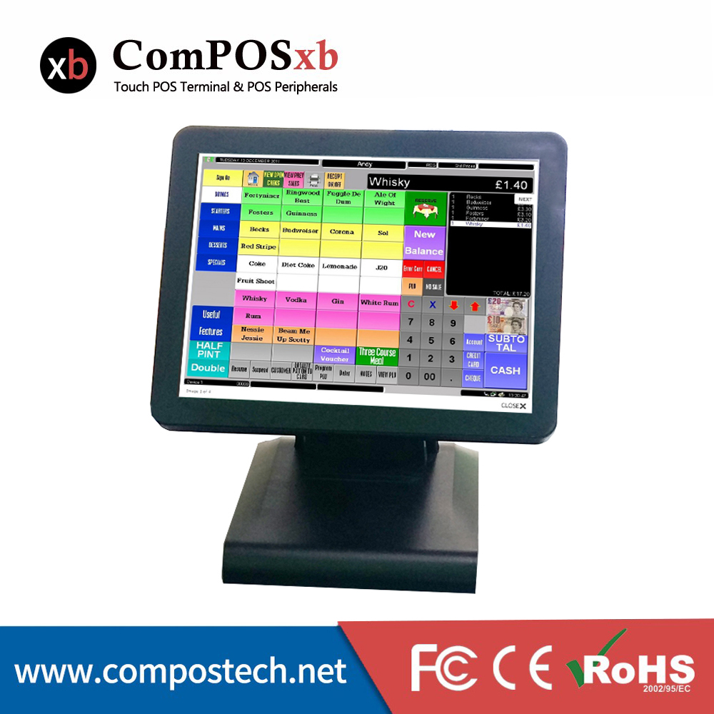 15 Inch Capacitive POS System Restaurant All In One Point Of Sale Cashier Register Pos Terminal POS1619C купить дешево онлайн