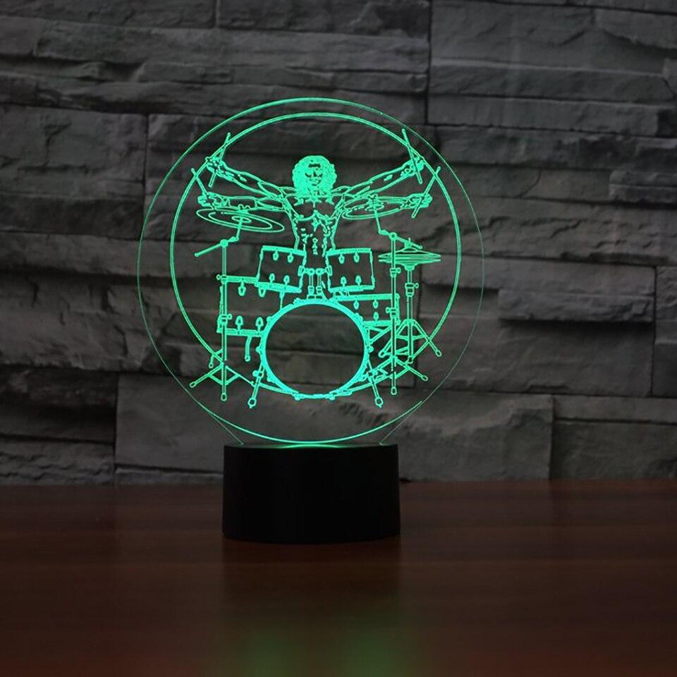 7 цветов 3D Led Home Decor Night Light скелет человека барабанных партий моделирование настольная лампа дети прикроватные освещение музыкальный инстру... ...