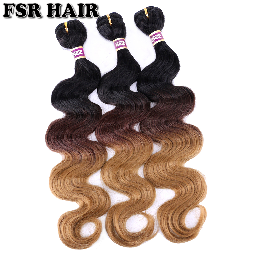FSR 1/4/27 Three Tone Ombre Body Wave Bundles Fashion Curly Hair Bundles 16-26 Inch 100 Gram One Piece Synthetic Hair Extension