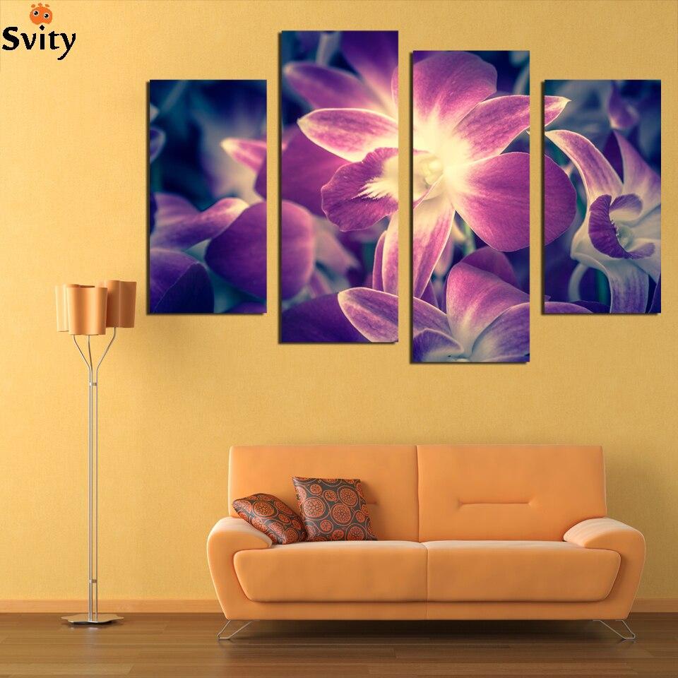っ4 panel Hd purple flower canvas painting set paintings modern ...