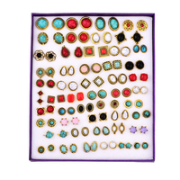 OATHYAN 50Pairs/Set Charm Colorful Crack Stone/Crystal Stud Earrings Set Punk Vintage Gold Color Ear Stud Mixed Ear Accessories