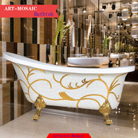 Antique design 4 legs luxury mosaic bathtub