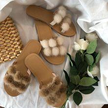 Women Summer Flip Flops Slippers 2019 Fluffy Fur slides Casual Flat Heel Shoes Ladies Slides zapatos de mujer