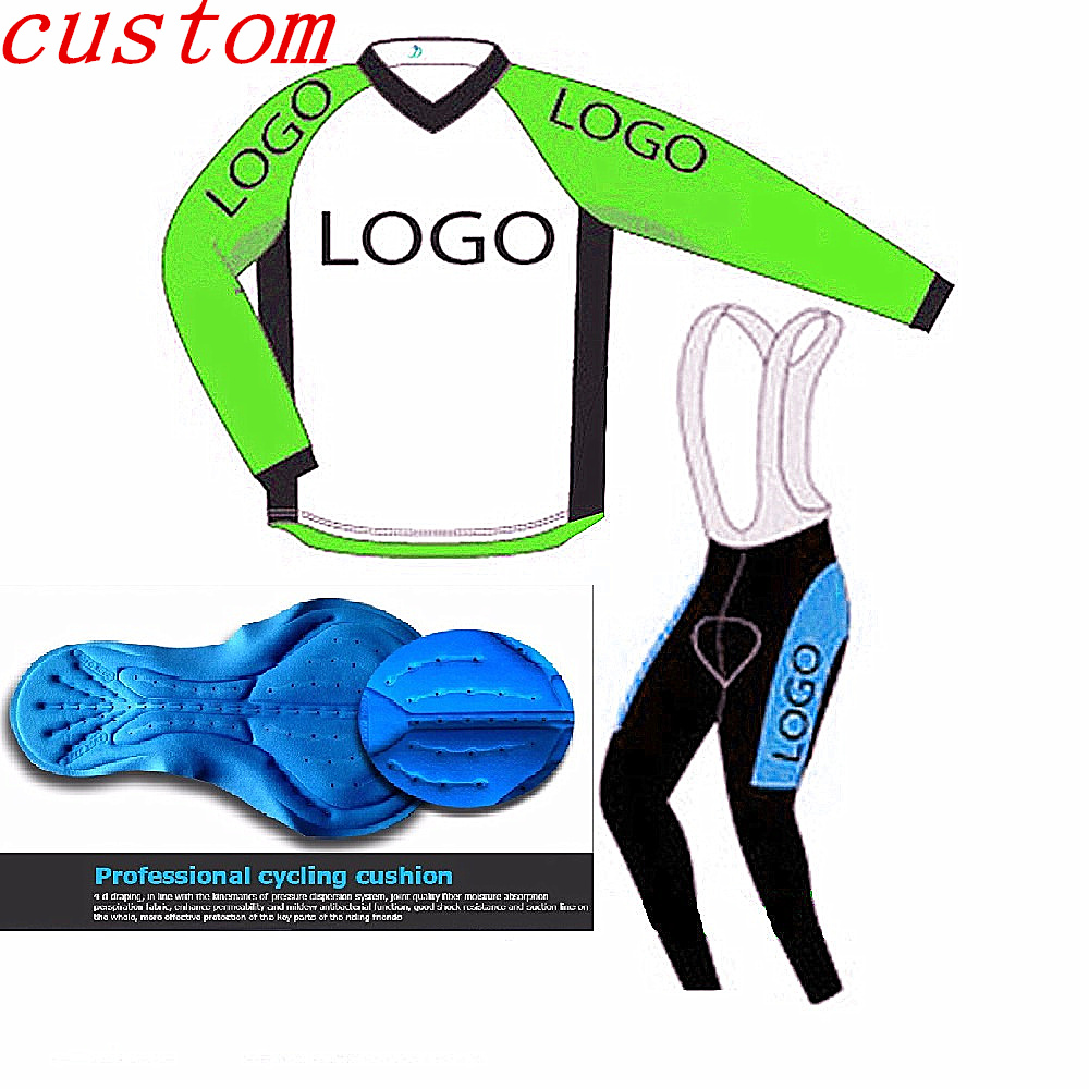 Ropa Ciclismo 2016 autumn Custom Long Sleeve Cycling Jersey kits and Customize any color any team Bike Clothing bib long sets teleyi team cycling outfits mens ropa ciclismo long sleeve jersey bib pants kits bicycle jacket trousers set red black