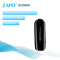 ZAPO Marca 1200 Mbps Wireless AC Adaptador USB 3.0 Lan 5.8G WIFI Antena Añadir Bluetooth 4.1 Tarjeta de Red De Escritorio Portátil TV