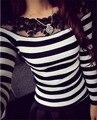 Новый 2016 Весна Женщин Свитер Пуловер С Длинным Рукавом Дна Рубашки Кружева Цветочный Стежка Полосатый Блузка Топы Повседневная Трикотаж W260