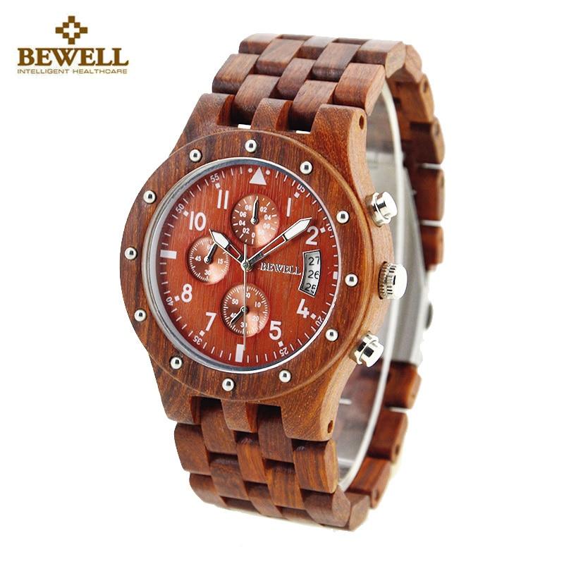 BEWELL Watches Men Fashion Male Business Wood Watch Man Classic Quartz Watches Waterproof Date Men Wristwatch Relogio Masculino