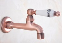 Antique Red Copper Brass Single Ceramic Handle Bathroom Mop Pool Faucet /Garden Water Tap / Laundry Sink Water Taps mav328