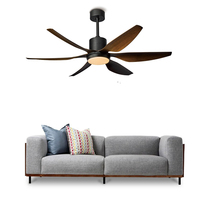 Ceiling fan LED light DC American retro remote 66 inch Nordic large country industrial wind restaurant living room ceiling fans