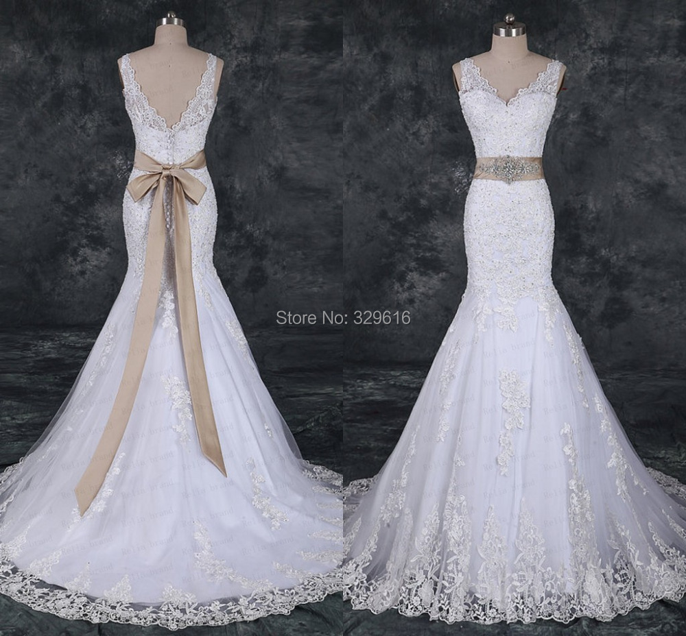 Aliexpress.com : Buy 2015 Mermaid Wedding Dress Lace Crystal ...