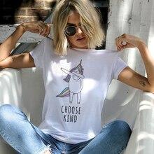 цена на Showtly   Dabbing Unicorn  Choose Kindness Women T-shirt Motivational Life Quote Tee Tops