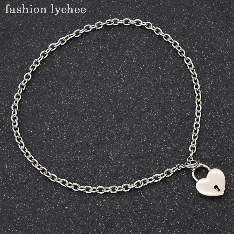 fashion lychee Unique Design Love Heart Square Lock Lockable Collar Necklace Punk Women Men Necklace Jewelry Gift