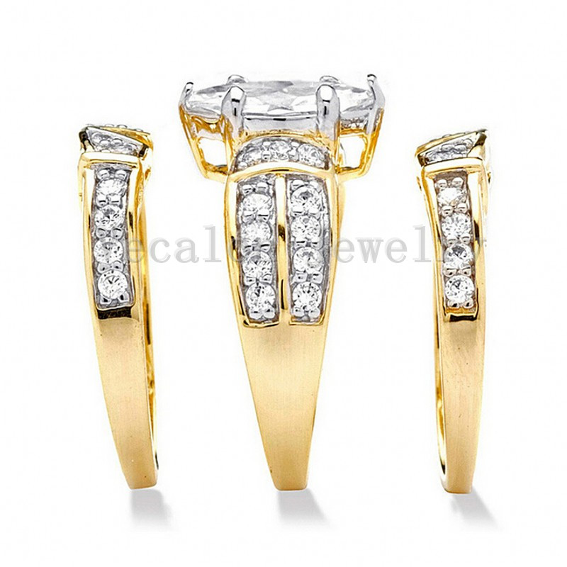 Image 2 - Vecalon Classic Jewelry Marquise Cut 2ct 5A Zircon cz  Wedding Band Ring Set for Women 14KT Yellow Gold Filled Enagement ring-in Engagement Rings from Jewelry & Accessories
