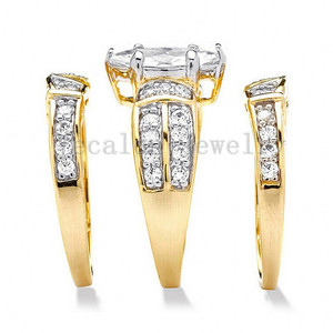 Image 2 - Vecalon Classic Jewelry Marquise Cut 2ct 5A Zircon cz  Wedding Band Ring Set for Women 14KT Yellow Gold Filled Enagement ring