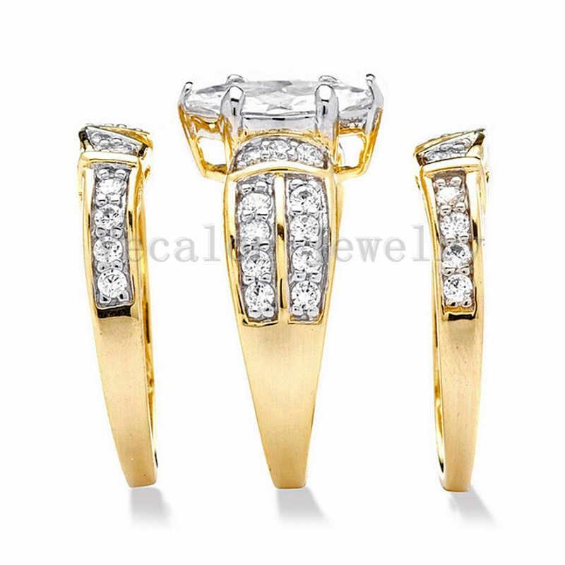 Vecalon קלאסי תכשיטי המרקיזה Cut 2ct 5A זירקון cz טבעת נישואים טבעת סט לנשים 14KT צהוב גולדפילד Enagement טבעת