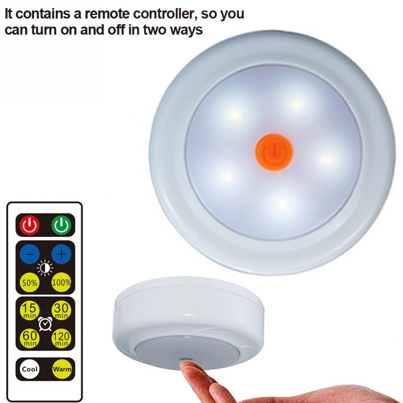 Wireless LED Puck Light Set with Dimmer and Timer Battery Powered Light with Remote Control Suitable for Kitchen Cabinet