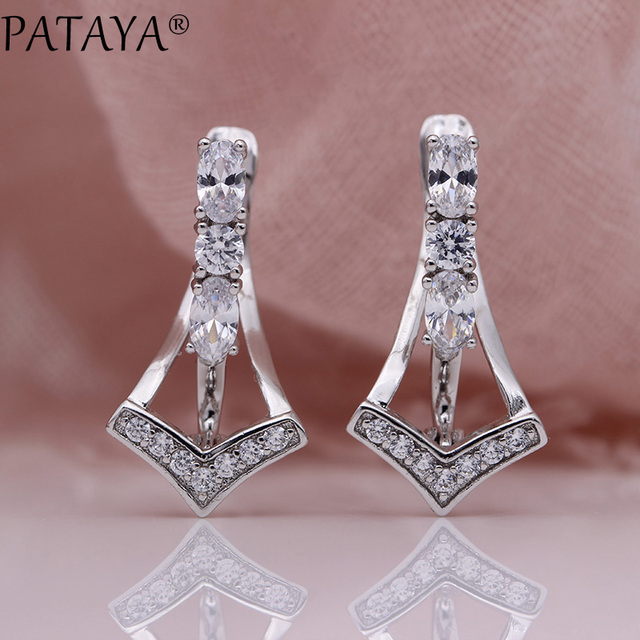 PATAYA New True White Gold Unique Earring Women Fashion Fine Wedding Party Triangle Jewelry Oval Natural Zircon Dangle Earrings