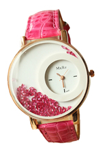 MXRE Women's Rhinestones Faux Leather Wrist Watch Pink