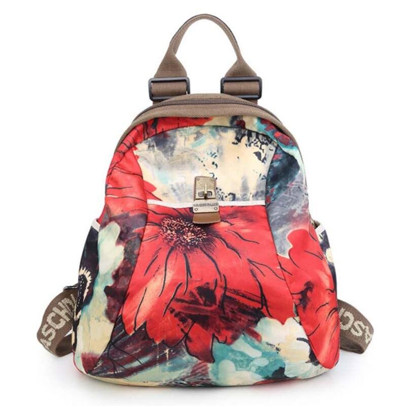 GUQIWT 2018 Women Backpacks Floral Print Bookbags Canvas Backpack School Bag For Girls Rucksack Female Travel Backpack sweet floral print and canvas design satchel for women