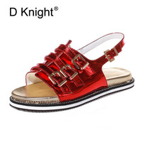 2017 Summer Gladiator Sandals Flip Flops Fisherman Shoes Woman Platform Creepers Flats Women Red Silver Shoes