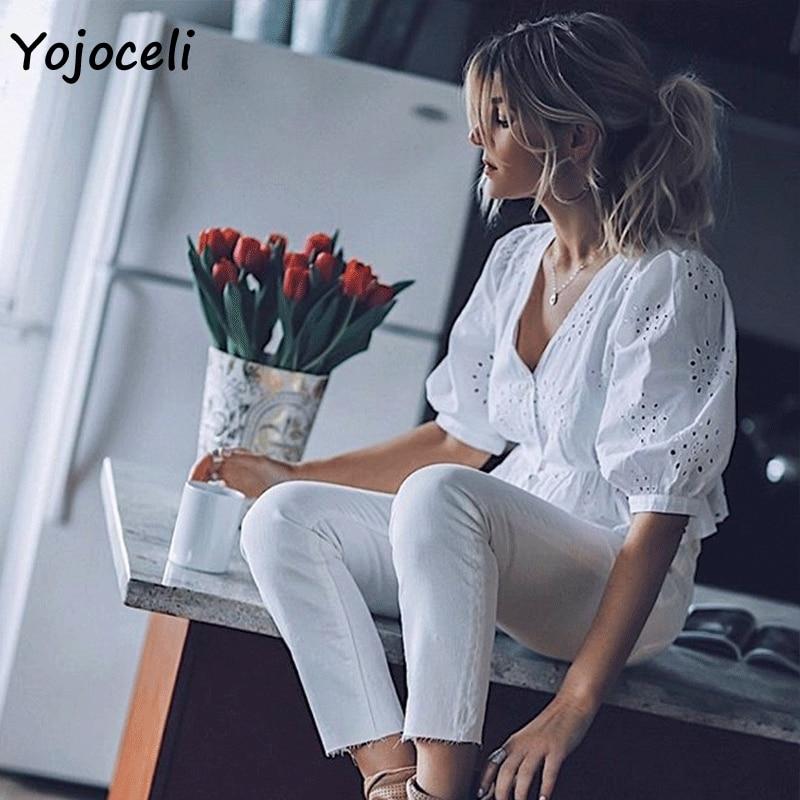 Yojoceli 2019 Summer Cotton Embroidery Blouses Shirt Women V Neck Button Hollow Out Blusas Female Tops