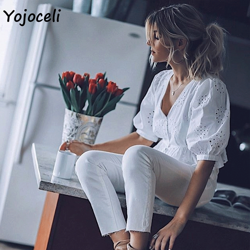 Yojoceli 2019 summer cotton embroidery   blouses     shirt   women v neck button hollow out blusas female tops