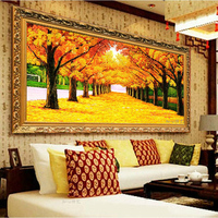 Landscape Painting DIY Ribbons Embroidery Golden Autumn Needlework Kits Cross Stitch Wall Art Living Room Decoration C 0071
