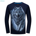 Boys Shirts with Long Sleeves 2017 Plus Sizes Cotton Slim 3D Snow Wolf O-neck Tops Tees Men's T-shirt Casual Shirt 14 15 years