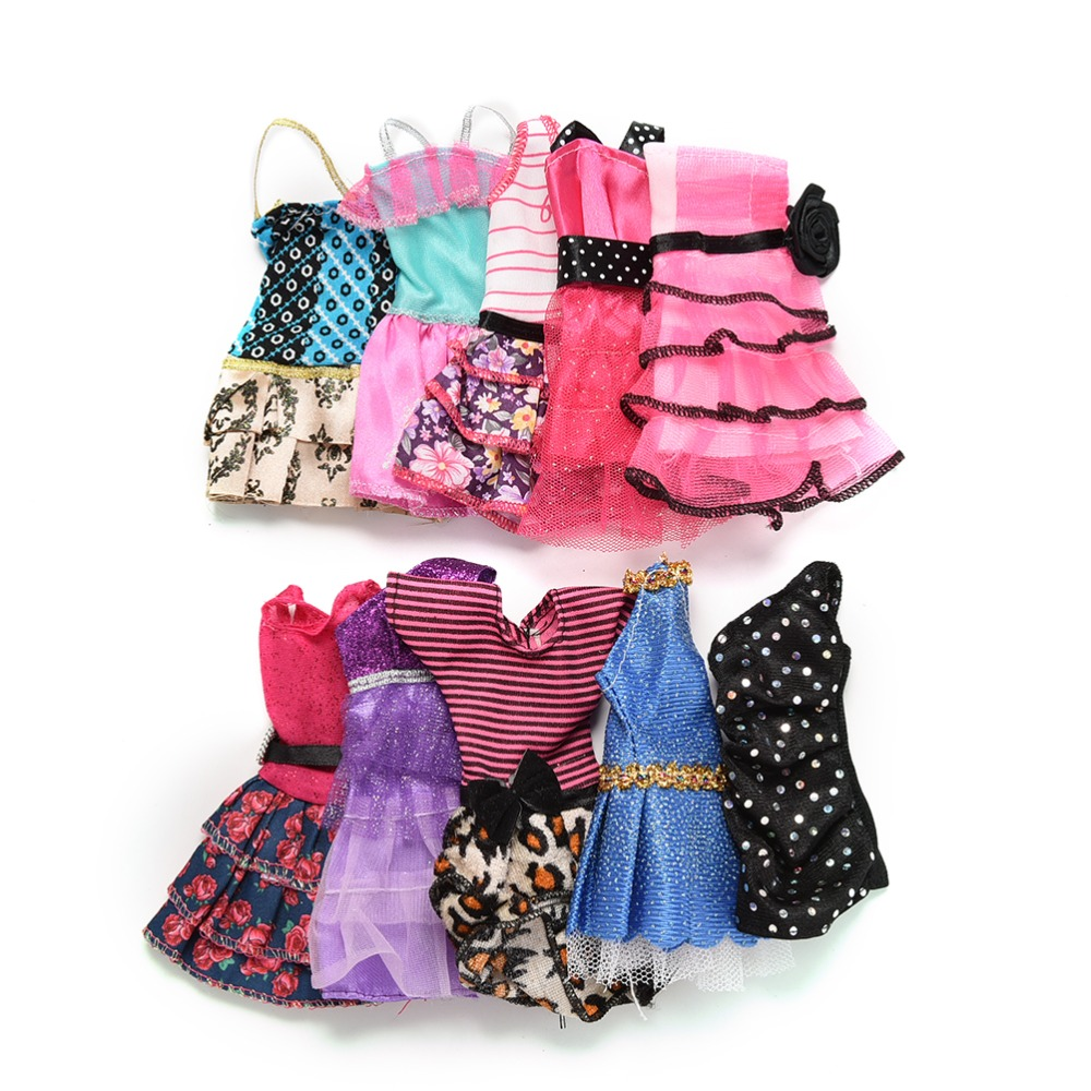 10-Pcslot-Fashion-Clothes-Casual-Party-Dress-Suits-For-Barbie-Doll-Best-Gift-Baby-Toy-Doll-Clothing-Sets-Randomly-Pick-Hot-Sell-5
