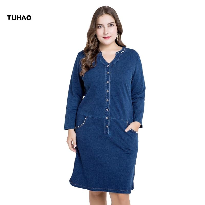 Detail Feedback Questions about TUHAO Plus size Denim Dress 3XL 4XL 5XL 2018  SPRING women denim dresses large sizes v neck moman dress female clothing  ZPZ04 ... 54d874cce899