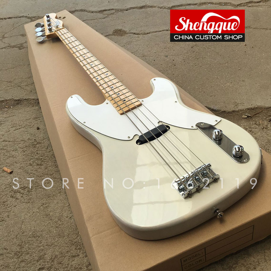 shengque factory custom tele jazz bass 4 strings electric bass guitar white color precision p. Black Bedroom Furniture Sets. Home Design Ideas