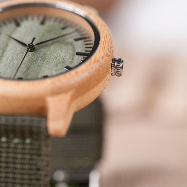 BOBO BIRD D11 bambou bois montres pour femmes hommes marque Design vert Nylon sangles montre livraison directe dans la boîte 4