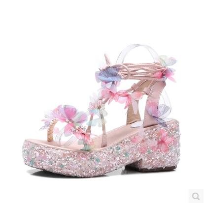 Hot Selling Ladies Sandals Thick Buttom Muffin Peep Toe Shoes Crystal Riband Lace up Summer Sandals party Dress Shoes peep toe thick crust creepers flat platform muffin black beige roma gladiator sandals for women 2015 hot sale shoes