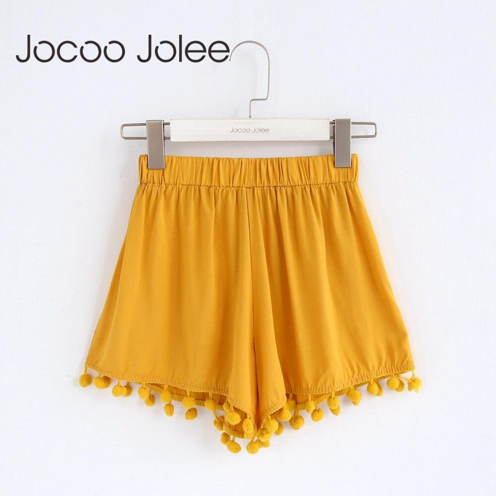Jocoo Jolee High Waist Solid Tassel Fashion   Short   2018 Women Hot Summer Casual Elastic Waist Loose Wide Leg   Shorts