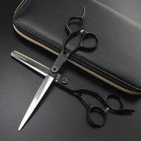professional Japan 440c 7 inch Black Pet dog grooming hair scissors dog Cutting Barber Thinning shears Hairdressing Scissors
