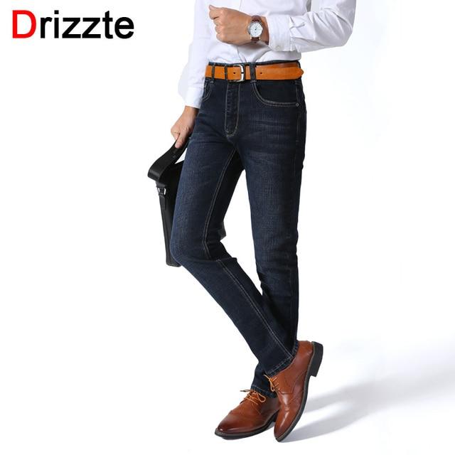d40664793f269 Drizzte Mens Jeans Stretch Smart Casual Jean Pants Trousers Designer Slim  Fit Jeans For Office Men Brand Black Blue Jeans