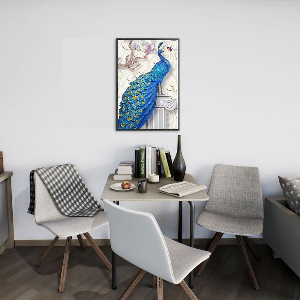 Frameless Blue Peacock Animals DIY Painting By Numbers Home Decoration Modern Wall Art Canvas Acrylic Picture Gift For Child