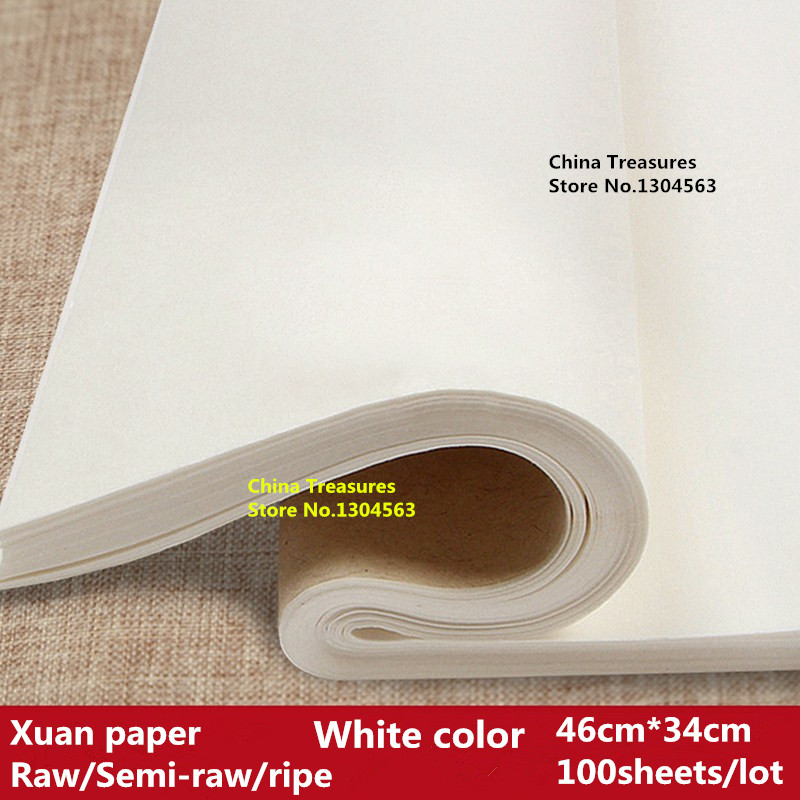 100pcs/lot,46cm*34cm,Practice Paper Chinese Rice Paper For Calligraphy Painting Paper Xuan Zhi Anhui Jing Xian Paper