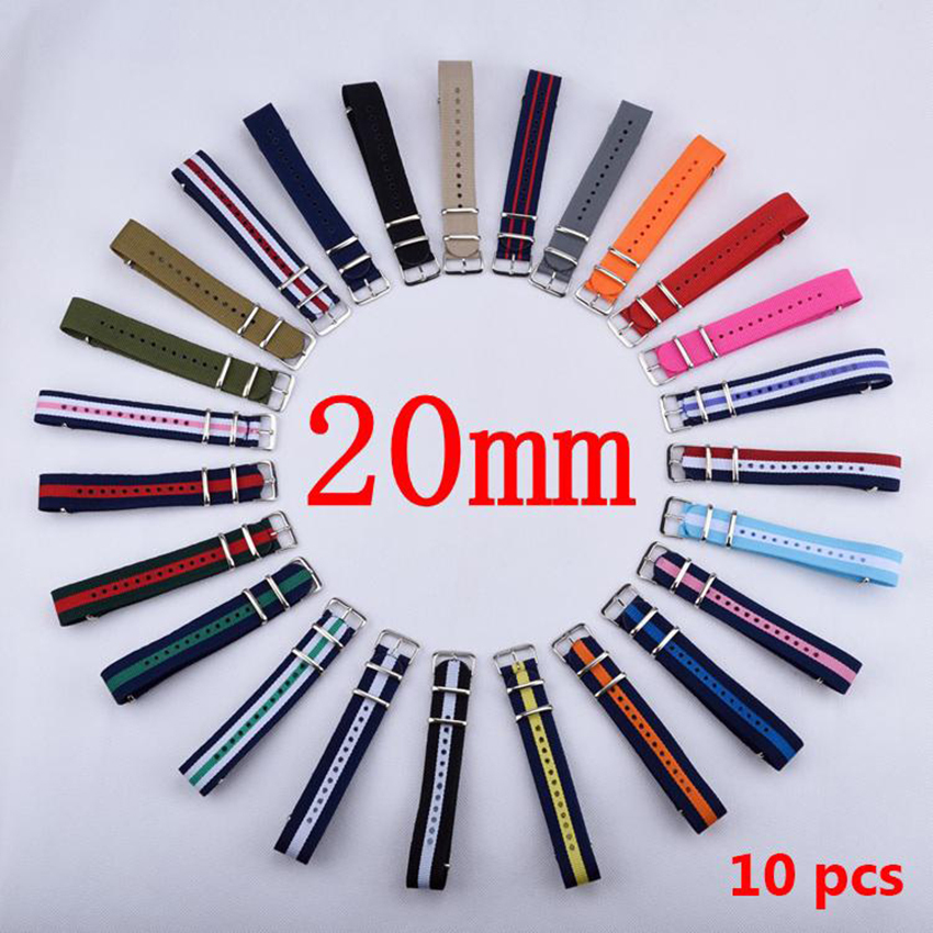 HOT 10PCS/Lot 20 mm Watchband Wholesale Watches Men Nylon Nato Strap 20mm Watch Band Waterproof Watch Strap For Watch wholesale 10pcs lot high quality 20mm nylon watch band nato waterproof watch strap colorful fashion wach band nato strap new