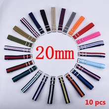 HOT 10PCS/Lot 20 mm Watchband Wholesale Watches Men Nylon Nato Strap 20mm Watch Band Waterproof For