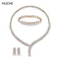 HUCHE Luxury Costume Jewelery Set for Women Wedding Necklace Pendant Earring Bracelet Bride Engagement Jewelry Bijouterie HCT802