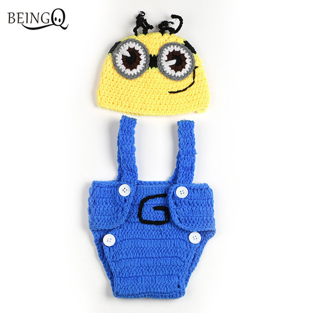 Beingo Yellow Minions Newborn Boys Photography Infants Knitted Hat