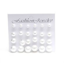 Sunshine fashion White pearl font b earrings b font 6mm 8mm 10mm 12mm Mix Size 1