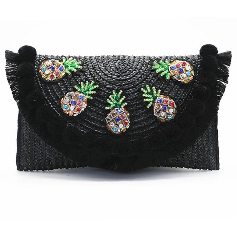 2017 high quality beach bag straw clutch messenger bag envelope bag women lady day tassels pineapple summer crossbody bags цена
