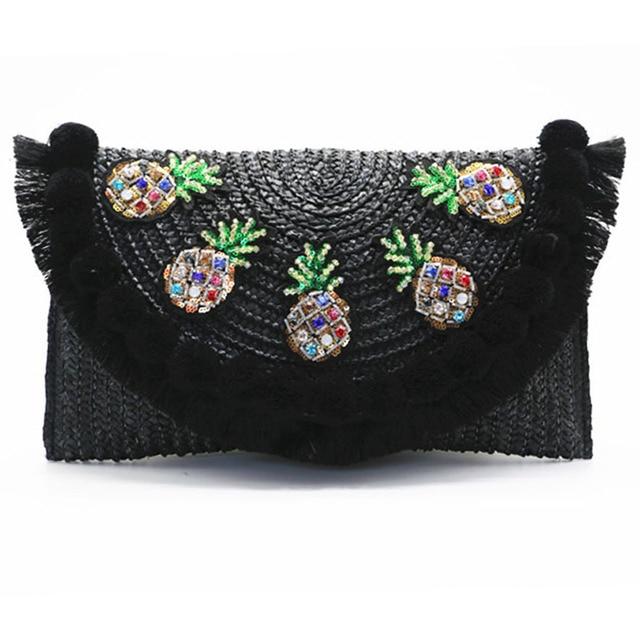 2017 high quality beach bag straw clutch messenger bag envelope bag women lady day tassels pineapple summer crossbody bags