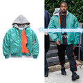 2016 winter hiphop new KANYE WEST Green Light Hooded VETEMENTS High Street MA1 Air Force Jacket