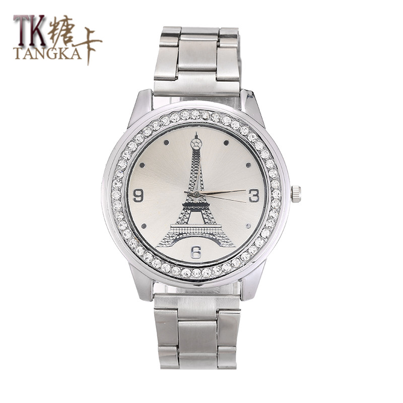 The New Men And Women Stainless Steel Strap Crystal Watch Analog Display Quartz Watch Bracelet Fashion Luxury Accessories