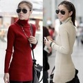 2016 Taobao Womens Sweaters Turtleneck Shirt special offer promotions all-match stretch slim raglan sleeve in a long knit shirt